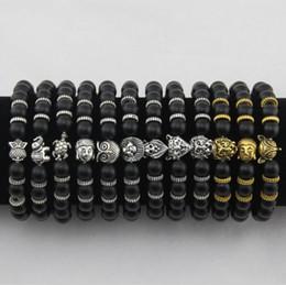 Wholesale beads elephant bracelet - Mens Bracelets Luxury Jewelry Women matt stone bead bracelet elephant leopard head lion head owl turtle Lava Charm Bracelets