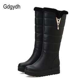 Wholesale Russian Boots - Gdgydh Fashion Fur Snow Boots Women Flat Winter Shoes Sexy Crystal Plush Inside Warm Ladies Outerwear Shoes Russian Plus Size 43