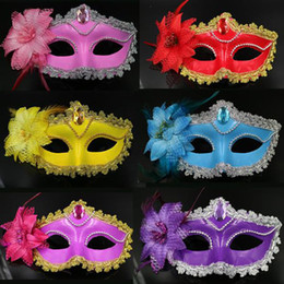 Wholesale Venice Flowers - New Fashion Halloween Venice Mask Masquerade Woman Flower Feather Easter dance Holiday party Mask Free Shipping