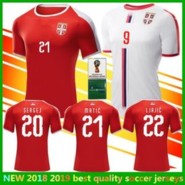 Wholesale Ripped Shorts For Men - For SERBIA 2018 World Cup TADIC jerseys national team Home Away white IVANOVIC MITROVIC KOLAROV KOSTIC SERGEJ MATIC Srbije Football Shirt
