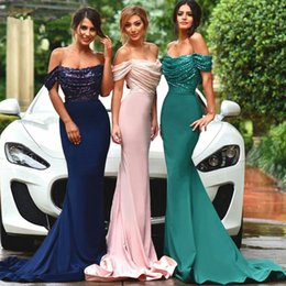 stocking flowers brooches 2018 - 2018 Bling Off Shoulder Bridesmaid Mermaid Dresses Pleat Ruched Sexy Custom Made Many Colors Jersey Prom Gown JB822