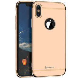 Wholesale Plastic Electroplating - iPaky Case For iPhone X 3 In 1 Hybrid Electroplate Back Cover Drop-proof Shockproof PC Armor Cases With Retail Package In Stock