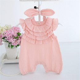 Wholesale Halloween Headbands Baby - High quality Mesh lace cotton summer children clothing short sleeve baby clothes newborn bodysuit With With Headband age 0~2T