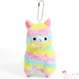 "Wholesale Rainbow Plush - New Rainbow Alpaca Vicugna Keychain Plush Toys Kawaii Alpacasso Stuffed Animals Doll Alpaca Plush Toys (10pcs Lot - Size: 4"" 10cm)"