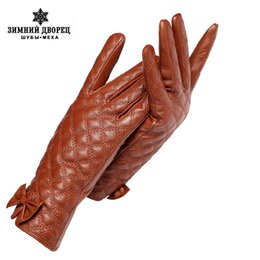 Wholesale Ladies Black Leather Gloves - Cold winter ladies gloves,Genuine Leather,Adult,Warm Cotton lining,Yellow-brown,Women's Winter Gloves,women's mittens