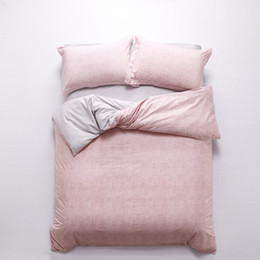 Wholesale light pink duvet cover queen - Plain Pink with Light Grey Bedding Set Queen Size King Size Duvet Covers Flat Bed Sheets with Pillowcase Cotton Textile Sets