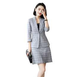 128732f0561 two piece set top and skirt plus size elegant women office skirt suits for women  mini summer office pleated set. Supplier  marryone