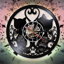 horloges pour animaux de compagnie Promotion Chats Couple Horloge Murale Design Moderne Kitty Chaton Disque Vinyle Horloge Murale Chatte Montre Maison Pet Décor Chat Amant Cadeau