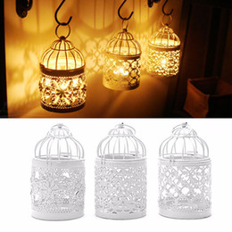 Wholesale Wholesale Metal Lanterns - 3 Designs Metal White Hollow Candle Holder Tealight Candlestick Hanging Lantern Bird Cage Ornaments Decoration Wedding Party Tool WX9-323