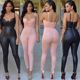 Wholesale leather playsuit - New Fashion Women PU Leather Clubwear Playsuit Casual Sleeveless Party Jumpsuit&Romper Solid Skinny Trousers Pants