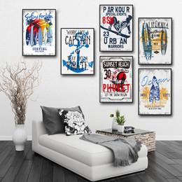 pop art heimtextilien leinwand Rabatt Nordic Pop Surfen Landschaft Leinwand Poster Wandbilder Leinwand Malerei Kunstdruck Wandmalerei ing Room Home Decor