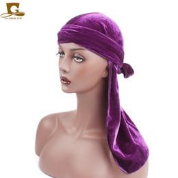 Wholesale Pirates Fashion - 2018 New Unisex Men's Velvet Durags Bandana Turban Hat Wigs Doo Durag Biker Headwear Headband Pirate Hat Hair Accessories