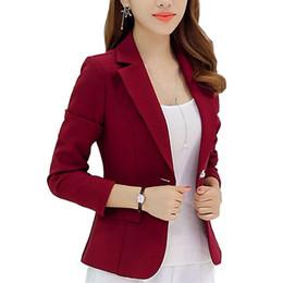 Wholesale Small Korean Jacket Coat - Wholesale- New Long-sleeved Slim Women Coats And Jackets Small Women Suit Korean Version (Gray Blue Wine Red Navy blue) Ladies Wear 350