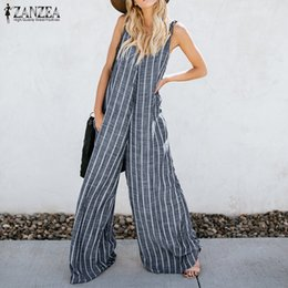 f7d2f0de5540 2018 Summer ZANZEA Women Sexy Striped Jumpsuits Casual V Neck Sleeveless  Loose Overalls Work Wide Leg Pants Rompers Plus Size