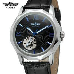 Discount transparent mechanical watch mens - Winner Blue Ocean Geometry Design Transparent Skeleton Dial Mens Watch Top Brand Luxury Automatic Fashion Mechanical Watch Clock