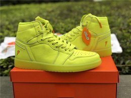 Wholesale Boots Waterproof For Men - 2018 HIGH BASKETBOL SHOES AIR RETRO 1S BE LIKE MIKE GATORADE HI OG G8RD CYBER SAFFRON YELLOW LIGHTNING BOOTS Waterproof Sneakers for Mens