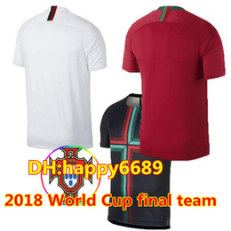 Wholesale National Soccer Team Uniform - 2018 world cup Portugal home Soccer Jersey #7 RONALDO Portugal national team soccer shirt CR 7 Portuguese home red Football uniforms sales