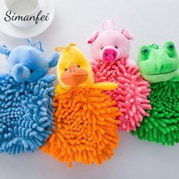 Wholesale Chenille Towels Wholesale - Simanfei Nursery Hand Towel 2017 Soft Chenille Lovely Cartoon Hanging Wipe Bathing Towel Super Absorbent Bathroom Kids Hands Dry