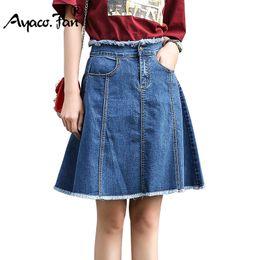cbdafa1752 New A-Line Skirts 2018 Summer Style Sweet Denim Skirt for Girl Lady Slim  Short Jeans Skirt Fashion Female All-match Knee Skirts on sale