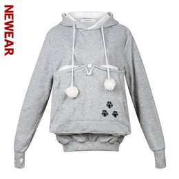 Wholesale Hoodies Cat Ears - Wholesale- NEWEAR Cute Cat Hoodie Sweatshirts With Cuddle Pouch Dog Pet Hoodies For Casual Pullovers With Ears Kangaroo Pocket Pullovers