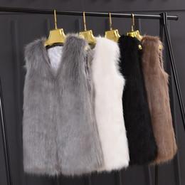 Wholesale Faux Fur Vest Jacket - Newest Autumn Fashion Faux Fur Women Ladies Sleeveless Slim Vest Jacket Coat Outerwear Waistcoat Plus Size XXXL Black Gray Q4961
