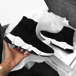 Chaussures décontractées noires brillantes en Ligne-Nom Marque Homme Femme Chaussures Speed Trainer Slip-Knit Slip On Noir Blanc Rouge Brillant Gris Haut Top Casual Chaussures Designer