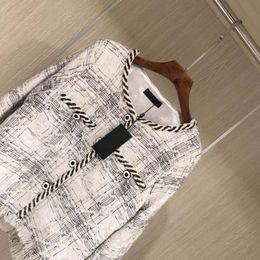Wholesale white wool trench - women Luxury design Top Quality silk Wool Jacket Petite Ladies Tweed Jacquard women jacket Coat Slim-Fit Long Sleeve O-Neck Trench Coat