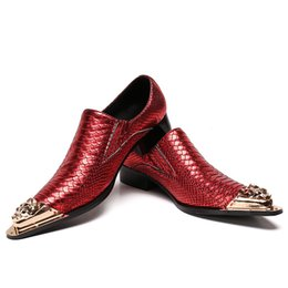 Wholesale red tip toe shoes - Leather Men Handmade Loafers with Metal Tip Fashion Banquet and Prom Wedding Men Dress Shoes Office Suit Shoes