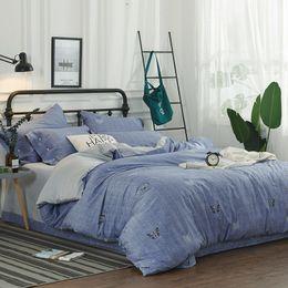 Juego de sábanas con estampado de mariposa online-4 unids algodón egipcio impresión digital de la mariposa conjunto de cama de lujo botones cubierta nórdica conjunto hoja de cama fundas de almohada reina tamaño king