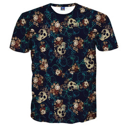 Teschi fiori manica uomo online-Mr .1991inc Skulls Fashion T -Shirt Maglietta da uomo 3d Tshirt Camicia a maniche corte Stampa divertente Molti fiori di teschio Asia Taglia dalla M alla 4XL