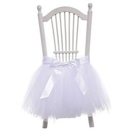 Il tulle fa decorazioni di nozze online-1 PZ Bow-knot Tulle Chair Skirt Fai Da Te Tutu Stoviglie Gonne per la Cerimonia Nuziale Festa di Compleanno Decorazione Baby Shower Decorazioni 45 * 45 cm