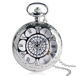 Argentina Diseño de la cubierta de la flor de plata Reloj de bolsillo de cuarzo Hombres Mujeres Fob Relojes Collar Regalo Moda Anime Reloj colgante Suministro