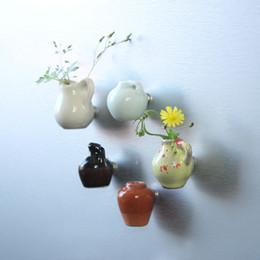 Wholesale Ceramic Vase Blue - Wholesale-Free shipping Flower Ceramics Mini Vase Fridge Magnet Floriculture DIY toys car home kitchen office decoration party favor gifts