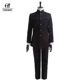 Marcas de roupas japonesas homens on-line-ROLECOS Brand New Homens Da Primavera Uniforme Escolar Uniforme Cosplay Japonês Escola Menino Casacos Calças Conjunto de Roupas