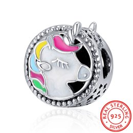 Wholesale Fit Jewelry Design - Turbo 925 Sterling Silver Charms Enamel DIY Jewelry Making Charms Unicorn Design Beads Fits Pandora Snake Chain Bracelets Mother's Day Gift