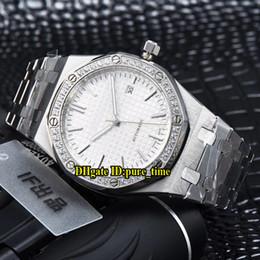 Banda di texture online-41mm Royal Date 15400 Quadrante bianco con quadrante automatico Mens Watch Diamond Bezel con cinturino in acciaio inossidabile Gents di alta qualità Nuovi orologi