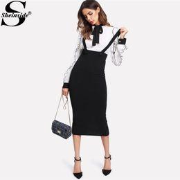 Wholesale Zipper Pencil Skirt - Sheinside 2017 High Waist Slit Back Pencil Skirt With Strap Black Knee Length Plain Zipper Skirt Women Elegant Winter