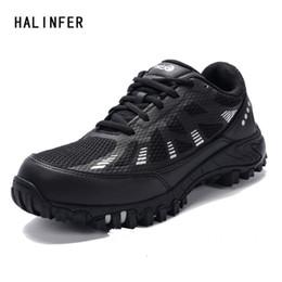 стальная заслонка Скидка HALINFER мужская обувь безопасности стали toe air mesh анти-пирсинг демпфирования Повседневная обувь мужская работа безопасности сапоги