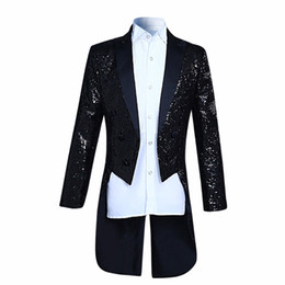 Wholesale Sequin Tuxedo Jacket Men - New Arrival Fashion sequins Design Stage Suit Jacket Men Cloudstyl 2017 Fashion Tuxedo Casual Slim Fit Drama costume Male Blazer