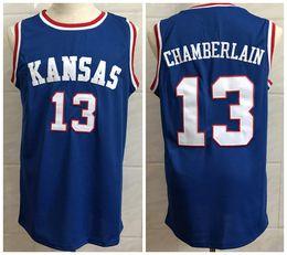 Wholesale ku jayhawks - #13 Wilt Chamberlain Kansas Jayhawks KU College Retro Throwback Basketball Jersey Mens Embroidery Stitched Jerseys
