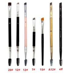 Wholesale Using Eye Shadow - High quality eyelashes Eyebrow brush #12 #7 #15 #20 hot sales commonly used Double head makeup brush