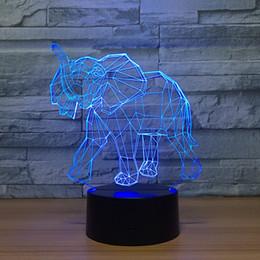 2019 luzes noturnas por atacado de elefantes Elefante 3D Ilusão Night Lamp 3D Lâmpada Óptica 5a Bateria USB Powered 7 RGB Luz DC 5 V Atacado Frete Grátis luzes noturnas por atacado de elefantes barato