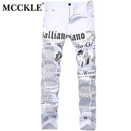 Мужские белые брюки онлайн-MCCKLE 2017 Autumn Men Denim Trousers White Printing Newspaper Casual Pants Mens Painted Skinny Jeans For Man size 28-42