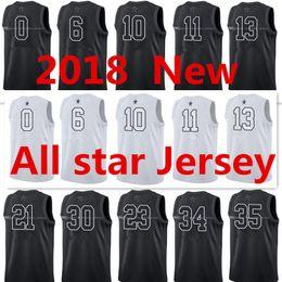 Wholesale Men Popular - 2018 All star Jerseys #0 #10 #11 #13 #21 #23 #25 #30 #34 #35 Very popular Black and White jersey