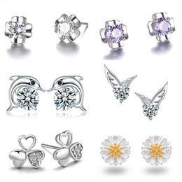 Wholesale Girls 14k Gold Stud Earrings - Fashion 20 Styles 925 Sliver Rhinestone Studs Earrings Crystal Gemstone Dangle Mini Earring for Women Girls Ladies