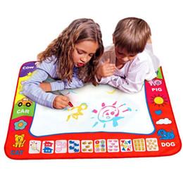Pluma estera mágica online-80 x 60 cm bebé niños agregar agua con Magic Pen Doodle pintura imagen agua dibujo estera en dibujo juguetes Junta regalo Navidad