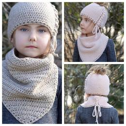 Wholesale knitted spring scarves - Kids knit Hats neckerchief set girls Ponytail cap Scarf Girls Wool Beanie Winter Pinncess Ear Protection Cap Hats neckerchief KKA3940