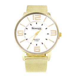 Wholesale Ladies Large Dial Watch - Flat Round quartz women wristwatch gold business clock large white dial stainless steel watches hot sale elegant lady watch 2018