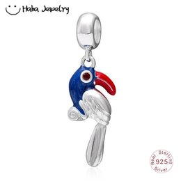 breloques perroquet Promotion Haha bijoux série animale Dangle perroquet charme authentique 925 Sterling Silver oiseau coloré pendentif perle pour Pandora Charms Bracelet Making