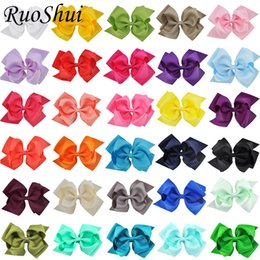 multi layer ribbon hair bows Promo Codes - 30PCS 6 Inch Double Layers Large Hair Bow Alligator Clips Bowknot Grosgrain Ribbon Hairbow Children Girls Hair Accessories